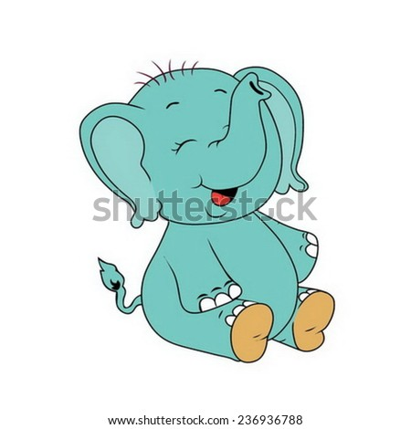 cartoon elephant baby - stock vector