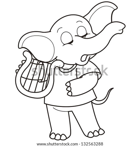 Cartoon Elephant playing a harp black and white - stock vectorCartoon Elephant Black And White