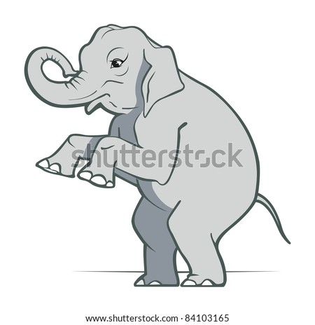 cartoon elephant smile in gray color