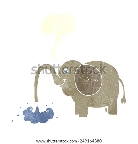 cartoon elephant squirting water with speech bubble - stock vector
