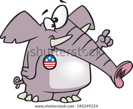 cartoon elephant wearing a voting button - stock vector
