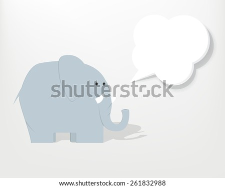 cartoon elephant with speech bubble - stock vector