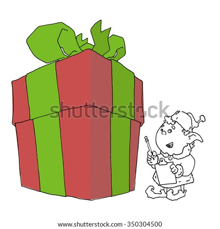 Cartoon elf with gift box. Vector illustration.