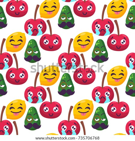 Cartoon emotions fruit characters natural food vector smile nature happy expression seamless pattern background