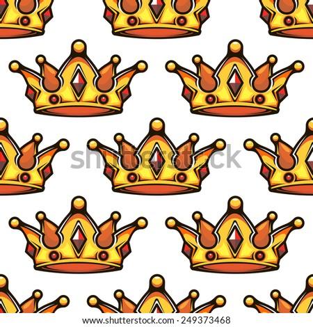 Cartoon emperor golden crowns seamless pattern for vintage or VIP design - stock vector
