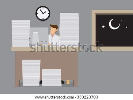 Cartoon employee behind computer with piles of document working late into the night. Vector illustration for concept on the lack of work-life balance. - stock vector