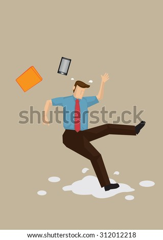 Cartoon employee slipped on wet floor and lost balance with his mobile phone and folder flying off. Vector cartoon illustration on workplace safety concept isolated on plain background.  - stock vector