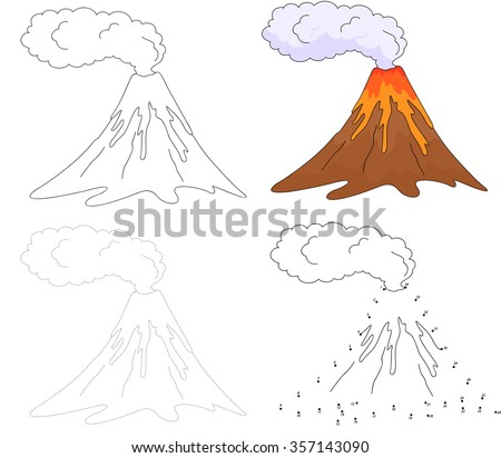 Cartoon erupting volcano. Dot to dot educational game for kids. Vector illustration - stock vector