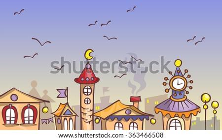Cartoon evening city, vector illustration on a fantasy theme - stock vector