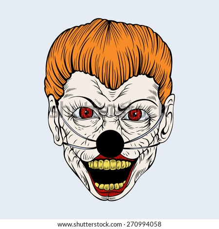 Cartoon evil clown red with red eyes and yellow teeth rotten. - stock vector