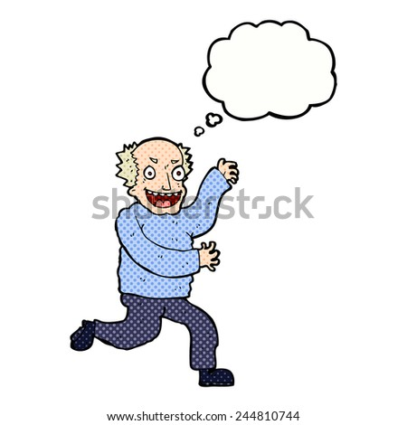 cartoon evil old man with thought bubble - stock vector