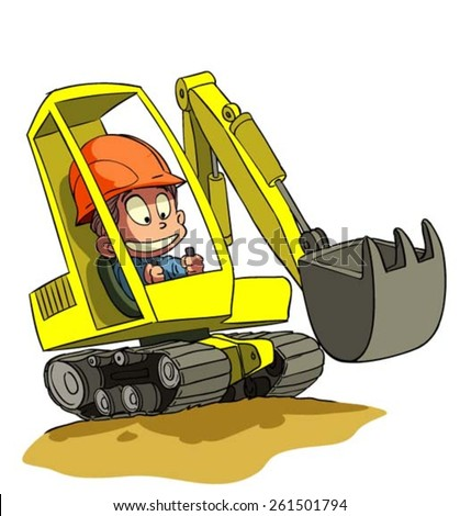 Cartoon Excavator at construction work with cartoons driver. Vector illustration.
