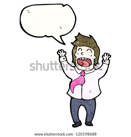 cartoon excited businessman with speech bubble - stock vector