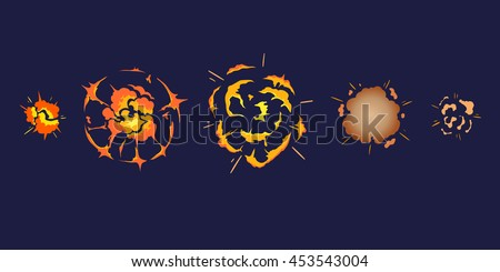 Cartoon explosion boom storyboard comics game design. Hand drawn vector illustration - stock vector