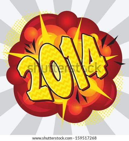 Cartoon explosion pop-art style 2014. - stock vector