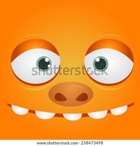 Cartoon expression monster - stock vector