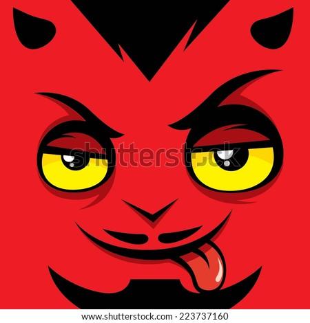 Cartoon expression satan - stock vector