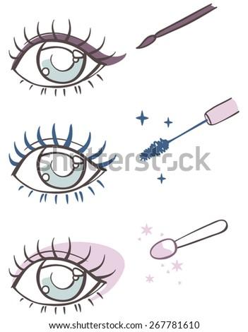 cartoon eye makeup: eyeliner, mascara, eye shadow. - stock vector
