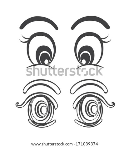 Cartoon eyes collection. Fully editable eps 8 file - stock vector