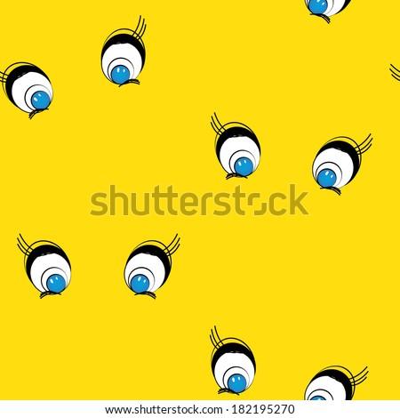 Cartoon eyes seamless background, vector illustration - stock vector