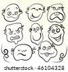 Cartoon face vector. Doodle design. - stock vector