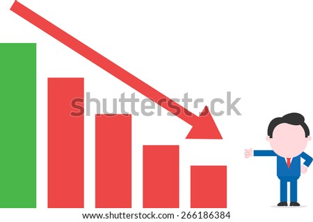 Cartoon faceless businessman showing to bar chart arrow moving down - stock vector