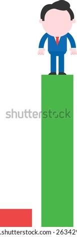 Cartoon faceless businessman standing on tall green bar beside low red bar chart - stock vector