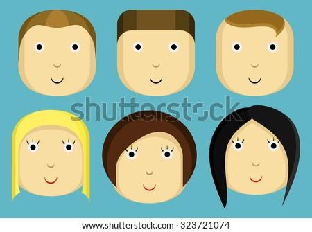 cartoon faces, cartoon people, characters, icons, avatar, girl, boy, man, woman - stock vector