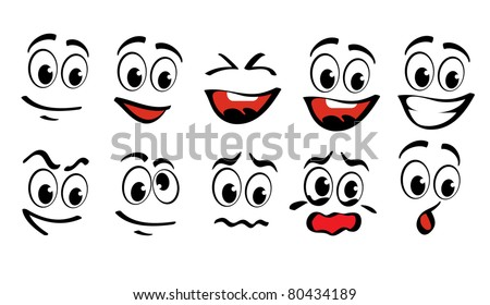 Cartoon faces  for humor or comics design - stock vector