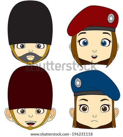 cartoon faces mix soldiers vector - stock vector