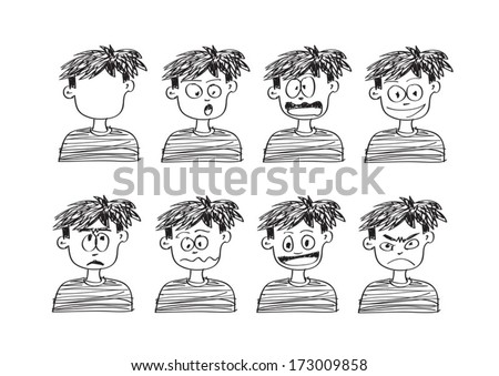 Cartoon faces Set Vector art illustration - stock vector