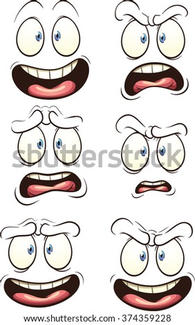 Cartoon faces with different expressions. Vector clip art illustration with simple gradients. Each face on a separate layer. - stock vector