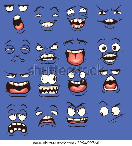 Cartoon faces with different expressions. Vector clip art illustration with simple gradients. Each on a separate layer. - stock vector