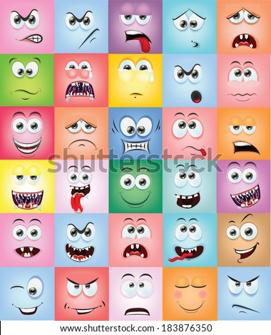Cartoon faces with emotions  - stock vector