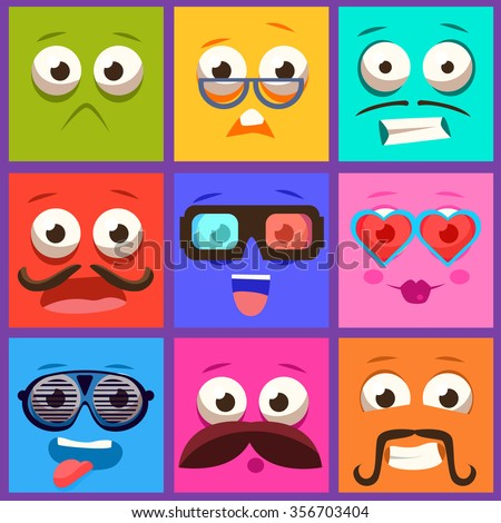 Cartoon faces with emotions and mustache. Vector collection - stock vector