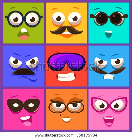 Cartoon faces with emotions and mustache. Vector Illustration Collection - stock vector