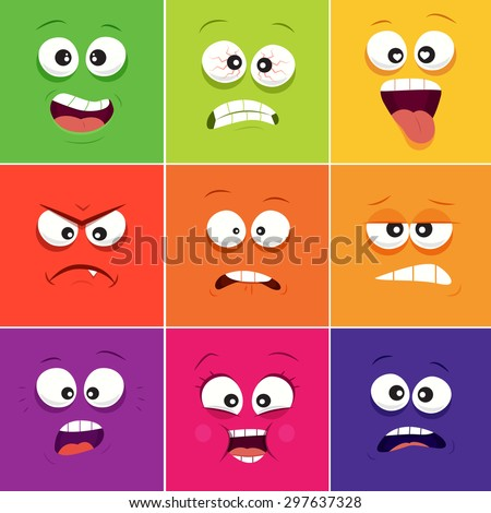 Cartoon faces with emotions v.11 - stock vector