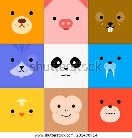 Cartoon faces with emotions v.5 (Bear, Pig, Beaver, Dog, Panda, Walrus, Chicken, Monkey, Fox) - stock vector