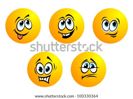 Cartoon facesand smiles. Jpeg version also available in gallery - stock vector