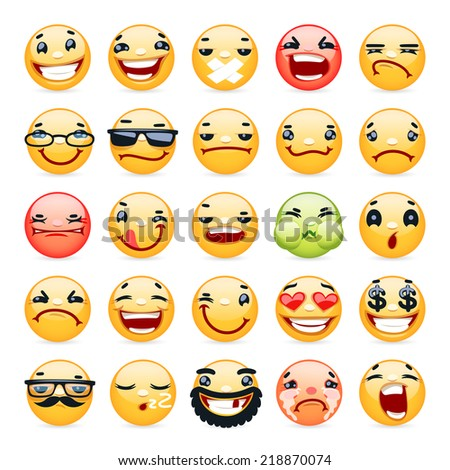Cartoon Facial Expression Smile Icons Set. Isolated on White Background. - stock vector