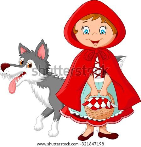 Cartoon fairy princess with robe and cute wolf - stock vector