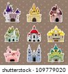 cartoon Fairy tale castle stickers - stock photo