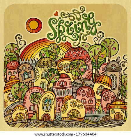 Cartoon fairy-tale spring houses. Vector illustration - stock vector