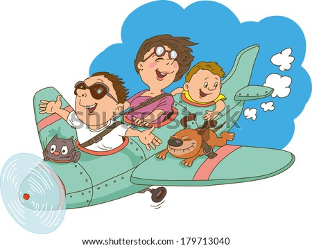 Cartoon family, flying on an airplane. Everyone is happy and cheerful. - stock vector