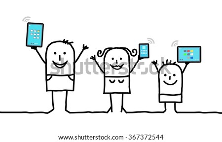 cartoon family holding connected digital  tablets and phones - stock vector