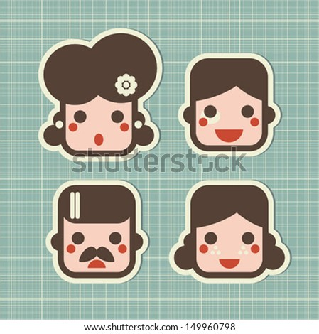 Cartoon family. Vector icons of people faces. - stock vector