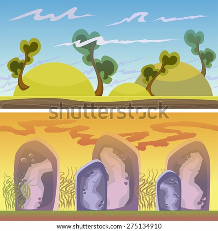 Cartoon fantastic landscape, vector endless background with ground, rocks, clouds and sky layers