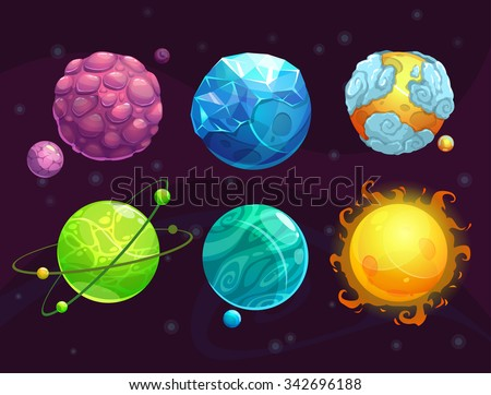 Cartoon fantasy alien planets set, funny elements for another universe design - stock vector