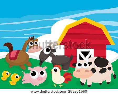 Cartoon farm and farm animals scene vector illustration. - stock vector