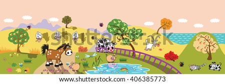 cartoon farm animals : sheep, horse ,cow and pig in the pasture field at evening. Rural landscape . Children illustration banner